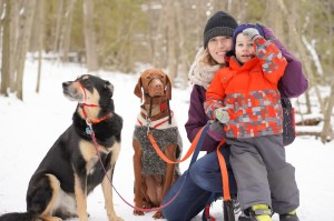 Jess, Easton and dogs
